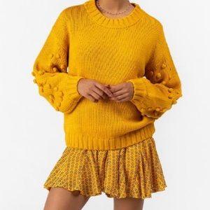 Arya Bobble Sleeve Sweater in mustard